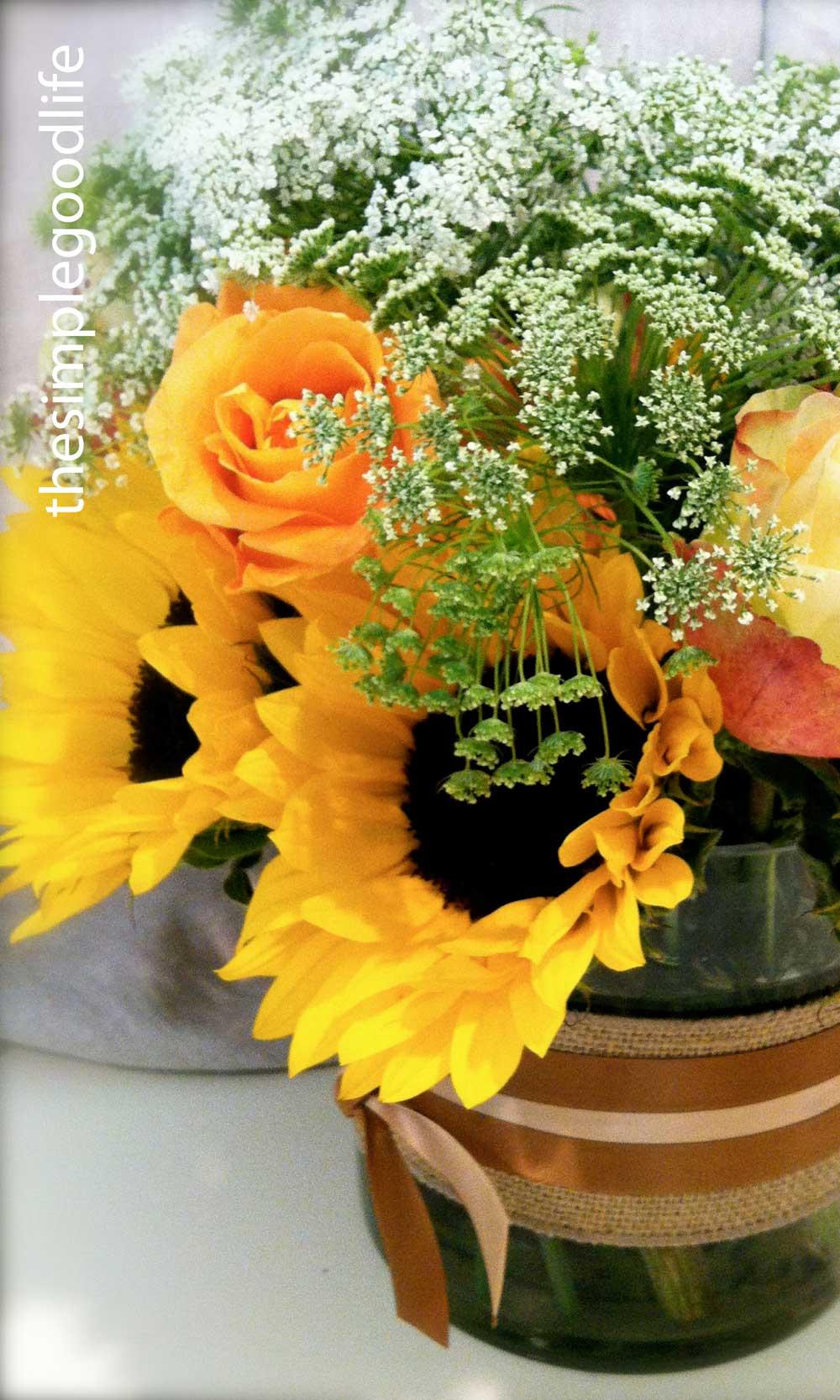 Sunflower table arrangement « thesimplegoodlife